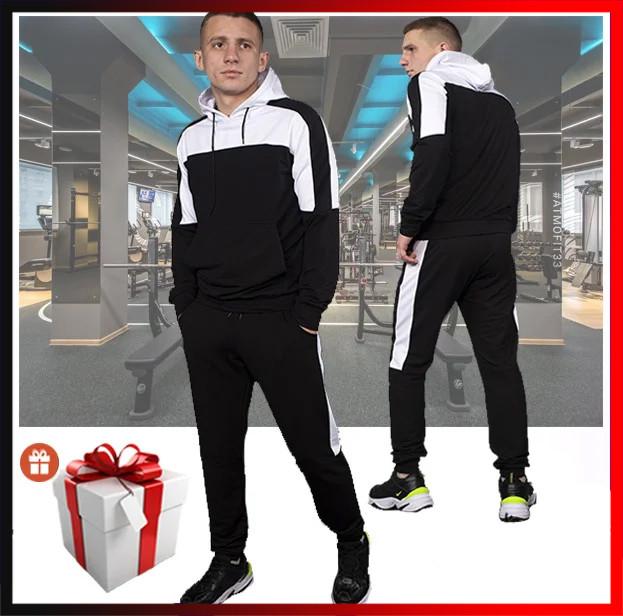 """Мужской спортивный костюм черный с капюшоном, кофта и штаны, костюм для прогулок  """"Spirited"""" + подарок"""