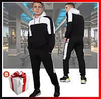 """Мужской спортивный костюм черный с капюшоном, кофта и штаны, костюм для прогулок  """"Spirited"""" + подарок, фото 1"""
