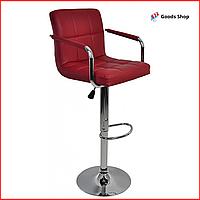 Барный стул высокий для барной стойки Кожаное барное кресло со спинкой с подлокотниками Bonro B-628-1 бордовый