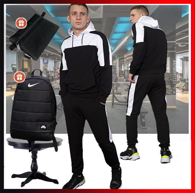 """Мужской спортивный костюм черный с капюшон , кофта и штаны, костюм для прогулок  """"Spirited"""" + 2 подарка"""