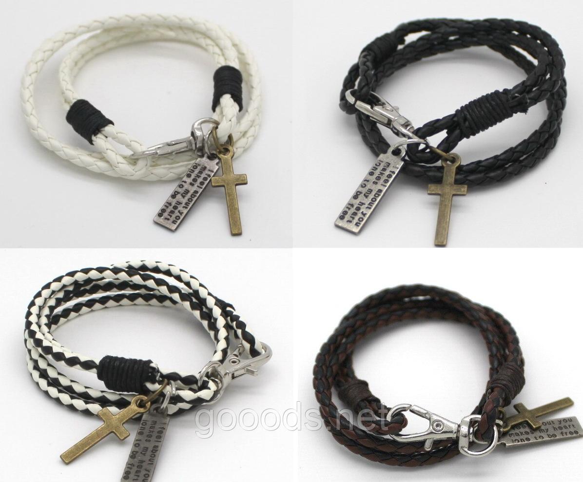 Модный кожаный браслет с крестиком для подростка