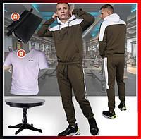 """Мужской спортивный костюм хаки с капюшоном, кофта и штаны, костюм для прогулок """"Spirited"""" Intruder + 2 подарка, фото 1"""