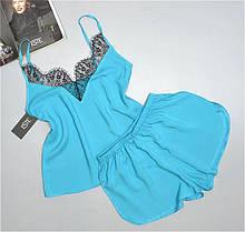 Яркая летняя пижама майка и шорты штапель Este 230-бирюза.