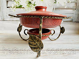 Садж для подачі шашлику Керамклуб зі сковородою 2 л і гранітним покриттям