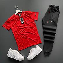 Мужской стильный спортивный костюм футболка штаны красный, черный, белый с м л хл 2хл