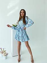 Красивое легкое мини платье в мелкий цветочек норма и батал