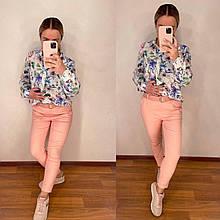 Стильные легкие светлые брюки женские голубые персиковые  42-44, 46-48, 48-50