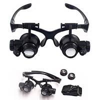 NO.9892G1 лупа-очки бинокулярные c LED подсветкой, 2 сменные линзы: 10Х, 20Х