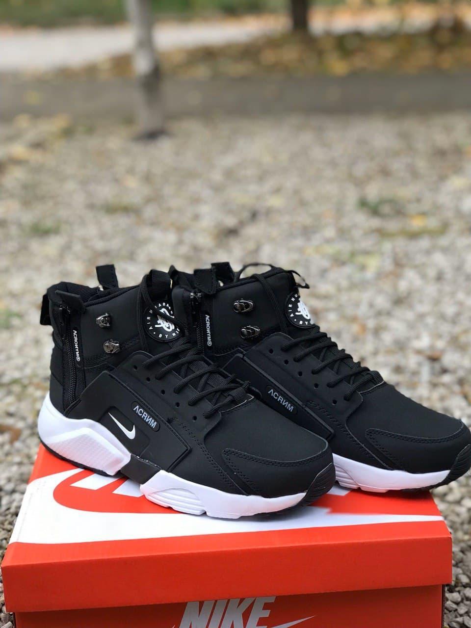 Кроссовки мужские зимние Nike Huarachi acronym Black White Термо