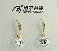 Элитные позолоченные небольшие серьги с кристалликами в виде сердца. Брендовая бижутерия Xuping опт. 325