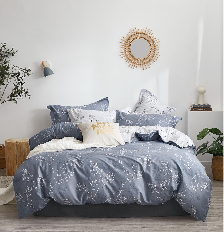 Комплект постільної білизни Bella Villa сатин полуторний сірий