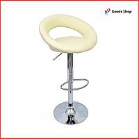 Барный стул высокий для барной стойки Кожаное барное кресло стильное со спинкой для кухни Bonro B-650 бежевый