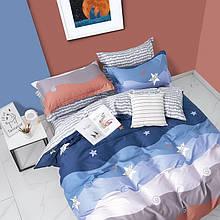 Комплект постельного белья Bella Villa сатин полуторный сине-голубой.