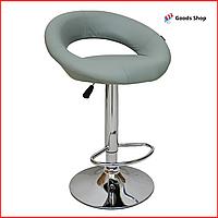 Барный стул высокий для барной стойки Кожаное барное кресло стильное со спинкой для кухни Bonro B-650 серый