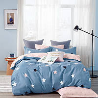 Комплект постельного белья Bella Villa сатин полуторный синий со звездами.