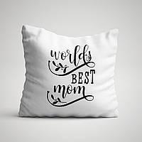 """Подушка с принтом для мамы """"World best MOM"""""""
