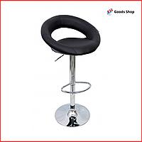 Барный стул высокий для барной стойки Кожаное барное кресло стильное со спинкой для кухни Bonro B-650 черный