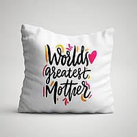 """Подушка с принтом для мамы """"World greatest Mother"""""""