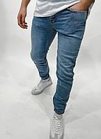 Молодежные мужские модные джинсы качественные зауженные голубые | Штаны брюки узкачи повседневные однотонные