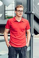 Мужское поло, стильная повседневная футболка с воротником, красный