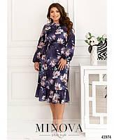 Міді сукні з квітковим принтом з оборкою на подолі з 46 по 68 розмір, фото 3