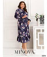 Міді сукні з квітковим принтом з оборкою на подолі з 46 по 68 розмір, фото 2