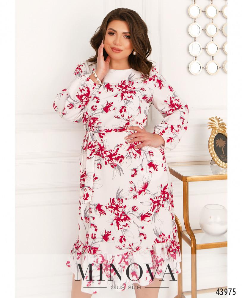 Міді сукні з квітковим принтом з оборкою на подолі з 46 по 68 розмір