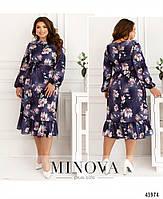 Міді сукні з квітковим принтом з оборкою на подолі з 46 по 68 розмір, фото 4
