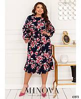 Міді сукні з квітковим принтом з оборкою на подолі з 46 по 68 розмір, фото 5