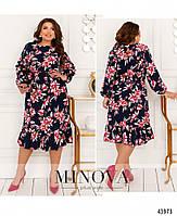 Міді сукні з квітковим принтом з оборкою на подолі з 46 по 68 розмір, фото 7