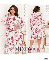 Міді сукні з квітковим принтом з оборкою на подолі з 46 по 68 розмір, фото 8