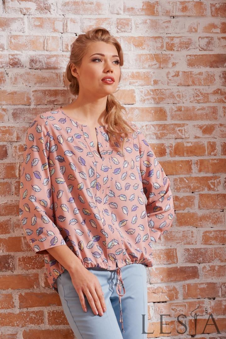 Блуза в повсякденному стилі з креп шифону рожевого кольору Lesya АДЕОЛА