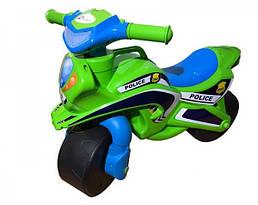 Мотобайк беговел музыкальный Doloni Toys Полиция Синий/Зеленый (0139/52)