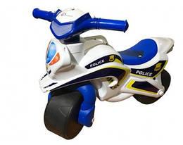 Мотобайк беговел музыкальный Doloni Toys Полиция Белый/Синий (0139/51)