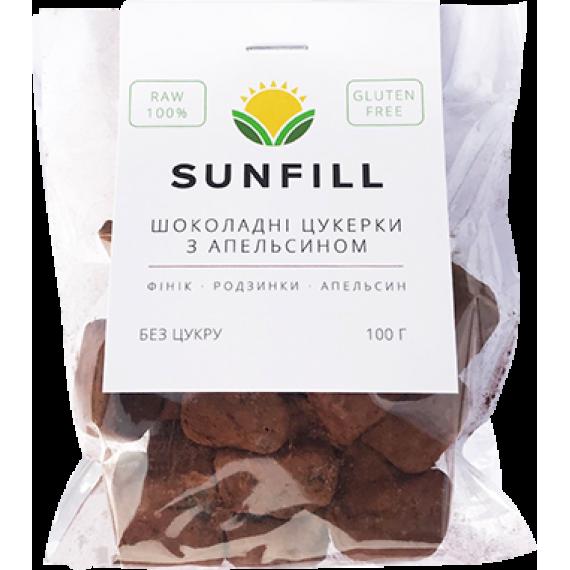 Шоколадно - апельсинові цукерки, 100 г  ТМ Sunfill