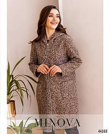 Привлекательное женское пальто из букле и люрексом с капюшоном цвет пудра, размер от 46 до 50