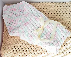 Дитячий в'язаний плюшевий плед - конверт на виписку, ковдру ручна робота 85*85 см