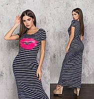 Довге жіноче плаття сині у смужку (2 кольори) ТК/-61244