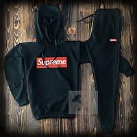 Спортивный костюм мужской Supreme (Cуприм) черный весна-лето-осень худи и штаны