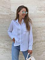 Белая модная женская рубашка из штапеля 42-44, 46-48