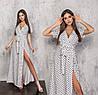 Длинное женское платье белый в горошек с имитацией запаха (6 цветов) ТК/-61240
