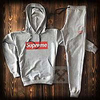 Спортивный костюм мужской Supreme (Cуприм) серый весна-лето-осень худи и штаны
