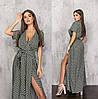 Довге жіноче плаття хакі в горошок з імітацією запаху (6 кольорів) ТК/-61240
