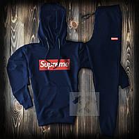 Спортивный костюм мужской Supreme (Cуприм) темно-синий весна-лето-осень худи и штаны