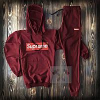 Спортивный костюм мужской Supreme (Cуприм) бордо весна-лето-осень худи и штаны