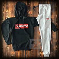 Спортивный костюм мужской Supreme (Cуприм) черный серый весна-лето-осень худи и штаны