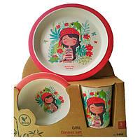 Детский набор посуды Fissman Девочка FS-9495 3 предмета красный