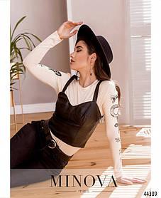 Супер модный  женский  топ майка облегающий черного цвета из эко-кожи, размеры 42, 44, 46, 48