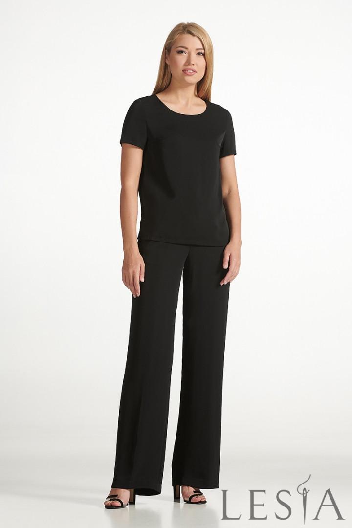 Стильные черные  брюки  прямого силуэта из струящейся ткани Lesya Нэви 5. 46