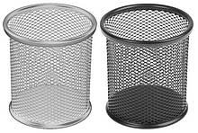 Подставка-стакан 802В КРУГЛЫЙ, чёрный, серебряный цвет,  металлическая сетка 9*10 см